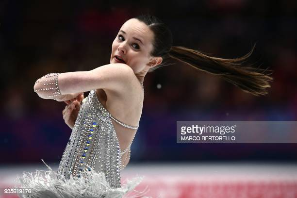 Mariah Bell performs on March 21, 2018 in Milan during the Ladies figure skating short program at the Milano World League Figure Championship 2018. /...