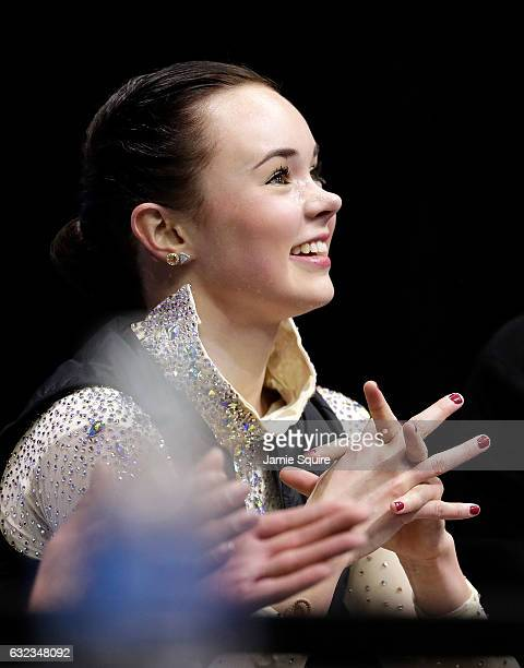 Mariah Bell reacts after seeing her scores in the Championship Ladies Free Skate during the 2017 US Figure Skating Championships at the Sprint Center...