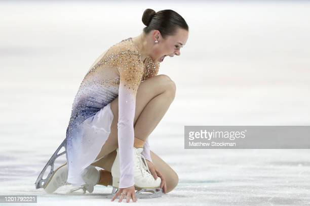 Mariah Bell reacts after skating in the Ladies Free skate during the 2020 U.S. Figure Skating Championships at Greensboro Coliseum on January 24,...