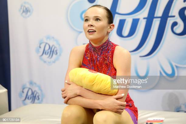 Mariah Bell waits for her score in the kiss and cry after skating inthe Ladies Free Skate during the 2018 Prudential US Figure Skating Championships...