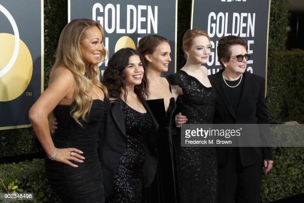 Mariah Carey America Ferrera Natalie Portman Emma Stone and Billie Jean King attend The 75th Annual Golden Globe Awards at The Beverly Hilton Hotel...