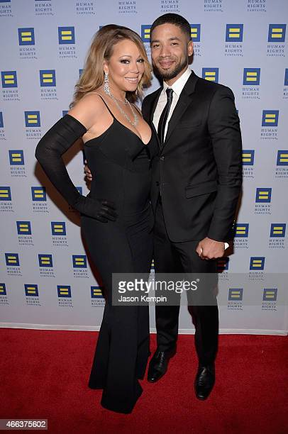 Mariah Carey and actor Jussie Smollett attend the Human Rights Campaign Los Angeles Gala 2015 at JW Marriott Los Angeles at LA LIVE on March 14 2015...
