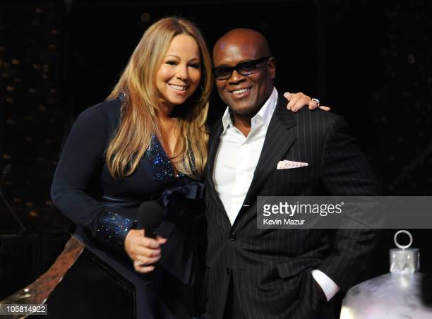 Mariah Carey and Antonio 'LA' Reid pose at the listening party for Mariah Carey's New Holiday Album 'Merry Christmas II You' at Allen Room at Lincoln...