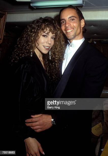 Mariah Carey and brother Morgan Carey during American Music Awards Backstage Dressing Room at the Shrine Auditorium in Los Angeles California