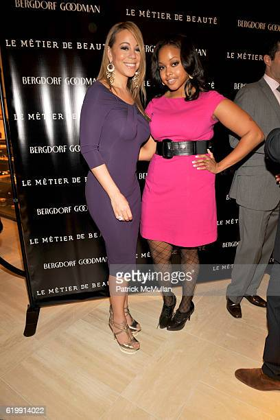 Mariah Carey and Chrisette Michele attend LA REID Hosts LE METIER DE BEAUTE Event at Bergdorf Goodman at Bergdorf Goodman on October 23 2008 in New...
