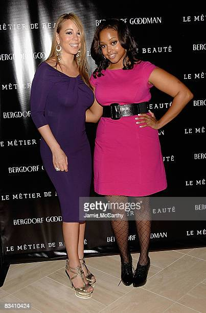 Mariah Carey and Chrisette Michele attend the launch of Le Metier De Beaute cosmetics at Bergdorf Goodman on October 23 2008 in New York City
