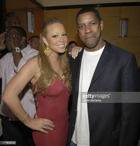 Mariah Carey and Denzel Washington during Mariah Carey Celebrates the Release of Her Album The Emancipation of Mimi and its Debut at at Cipriani in...
