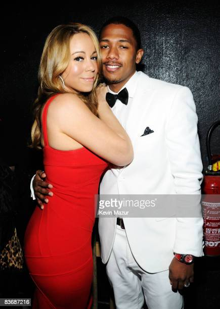 Mariah Carey and husband Nick Cannon backstage at the World Music Awards held at the Sporting Club on November 9 2008 in Monte Carlo France