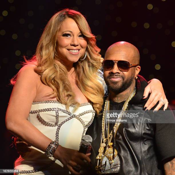 Mariah Carey and JErmain Dupri on stage at the So So Def 20th anniversary concert at the Fox Theater on February 23 2013 in Atlanta Georgia
