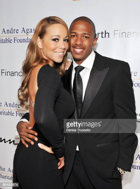 Mariah Carey and Nick Cannon arrive at The Andre Agassi Charitable Foundation's 13th Annual Grand Slam at Wynn Las Vegas on October 11 2008 in Las...