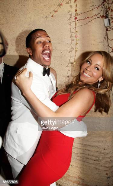 Mariah Carey and Nick Cannon backstage at the World Music Awards held at the Sporting Club on November 9 2008 in Monte Carlo France