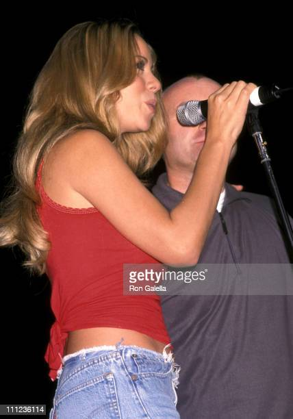 Mariah Carey and Phil Collins during 1067 Lite FM's 15th Birthday Concert at Madison Square Garden in New York City New York United States
