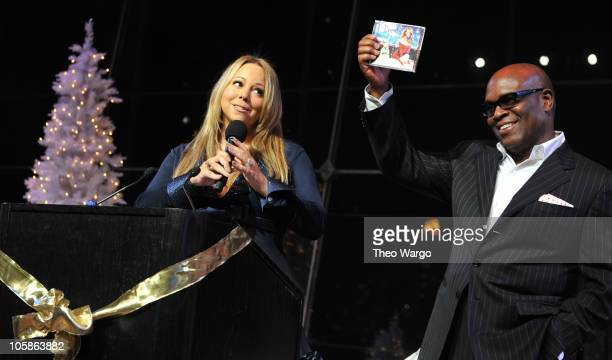 "Mariah Carey and LA Reid attend the launch of ""Merry Christmas II You"" at Allen Room at Lincoln Center on October 20, 2010 in New York City."
