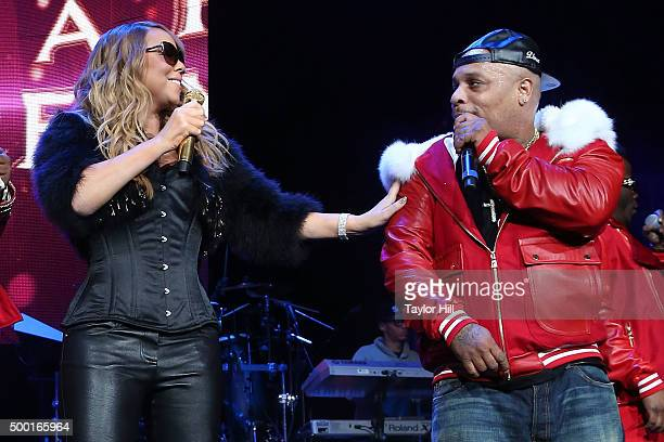 Mariah Carey and Spliff Star perform during Hot 97's 'Busta Rhymes and Friends Hot for the Holidays' at Prudential Center on December 5 2015 in...