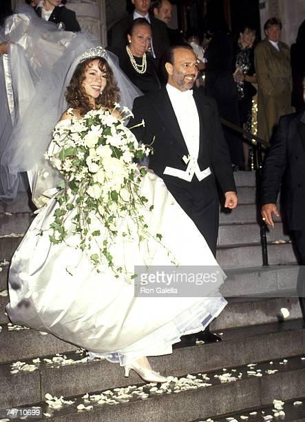 Mariah Carey and Tommy Mottola at the St Thomas Episcopal Church/Metropolitan Club in New York City NY