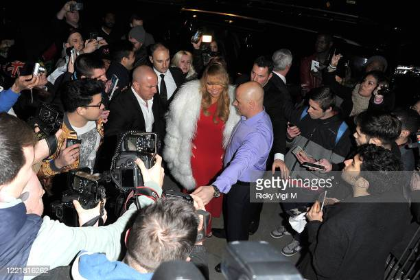 Mariah Carey arrives at her after party at NYLON lounge bar inside the O2 after her gig while is mobbed by fans and photographers on March 23 2016 in...