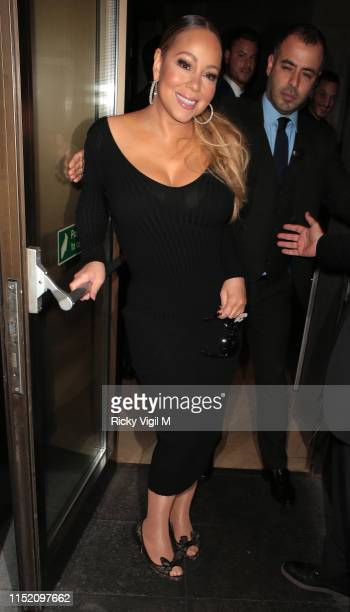 Mariah Carey is seen arriving at Novikov restaurant in Mayfair after her gig at Royal Albert Hall on May 27 2019 in London England