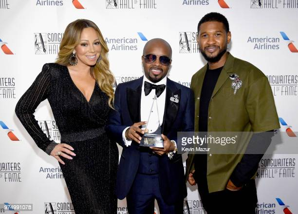 Mariah Carey Jermaine Dupri and Usher Raymond pose backstage during the Songwriters Hall of Fame 49th Annual Induction and Awards Dinner at New York...