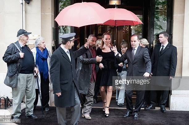 Mariah Carey leaves Plaza Athenee Hotel on April 28 2012 in Paris France