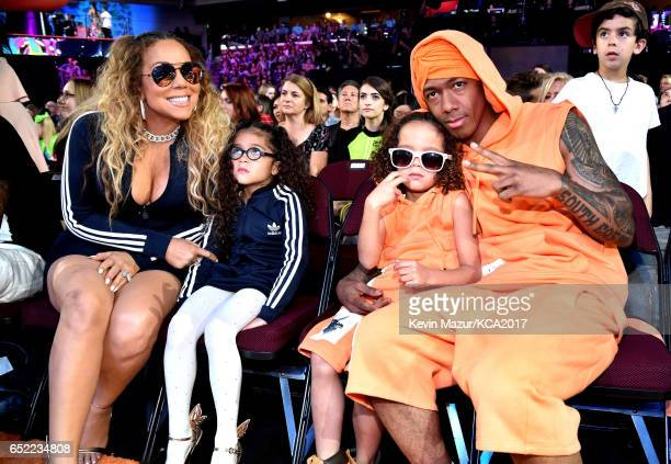 Mariah Carey Monroe Cannon Moroccan Scott Cannon and Nick Cannon during at Nickelodeon's 2017 Kids' Choice Awards at USC Galen Center on March 11...