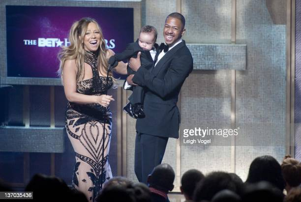 Mariah Carey Moroccan Scott Cannon and Nick Cannon attend BET Honors 2012 at the Warner Theatre on January 14 2012 in Washington DC