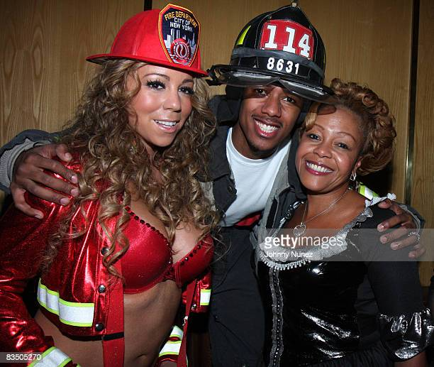 Mariah Carey Nick Cannon and his mother attend a Halloween party at Marquee on October 30 2008 in New York City