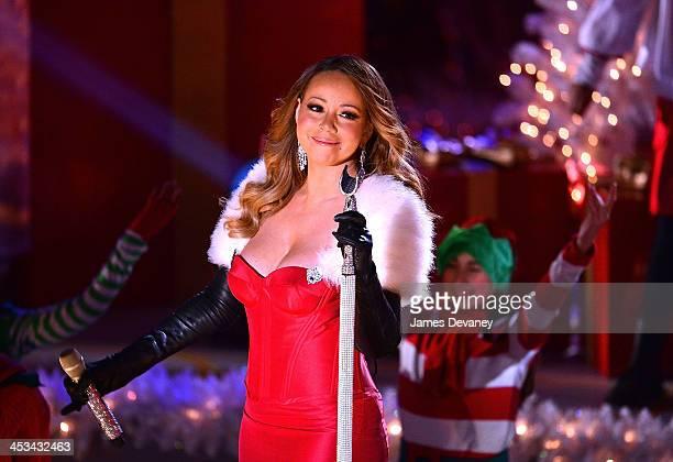 Mariah Carey performs at the 81st Annual Rockefeller Center Christmas Tree Lighting PreTape at Rockefeller Center on December 3 2013 in New York City
