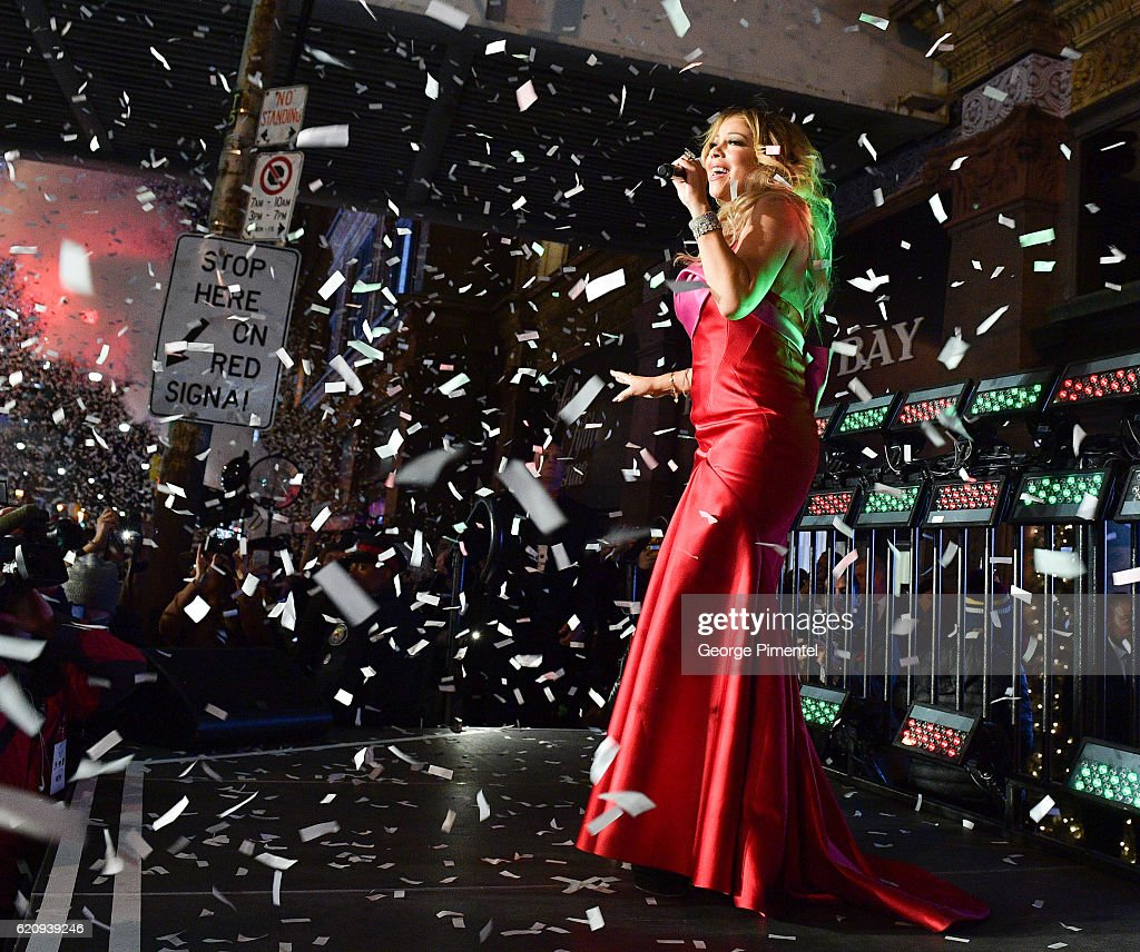 Mariah Carey performs at The Hudson's Bay And Saks Fifth Avenue Holiday Window Unveiling Presented By MasterCard at Hudson's Bay on November 3, 2016 in Toronto, Canada.