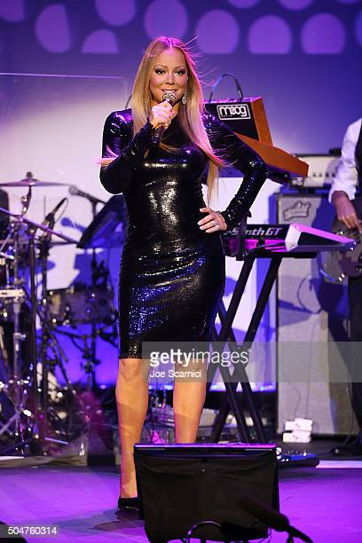 Mariah Carey performs at the Qatar Airways Los Angeles Gala at Dolby Theatre on January 12 2016 in Hollywood California