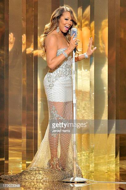 Mariah Carey performs during the 2013 BET Awards at Nokia Plaza LA LIVE on June 30 2013 in Los Angeles California
