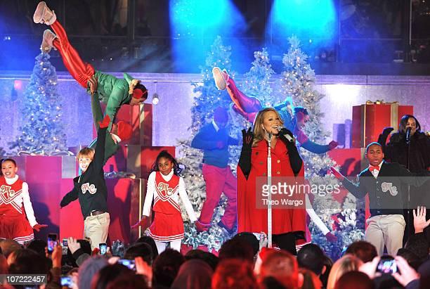 Mariah Carey performs during the dress rehearsal for the 2010 Rockefeller Center tree lighting at Rockefeller Center on November 30 2010 in New York...