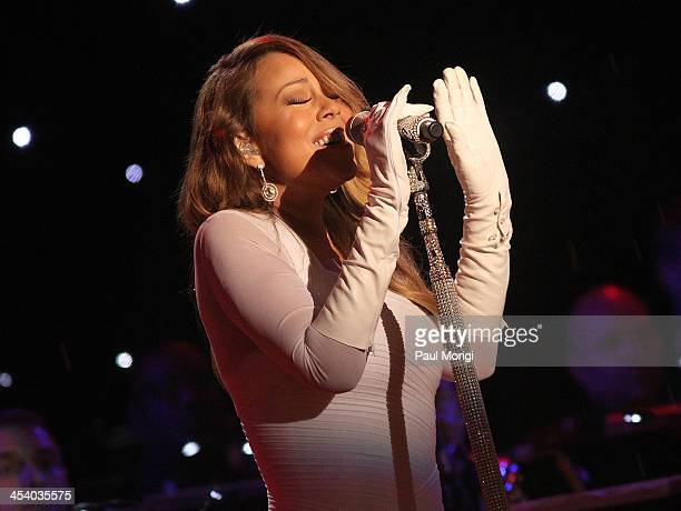Mariah Carey performs during the National Christmas Tree Lighting Ceremony in President's Park on December 6 2013 in Washington DC