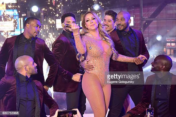 Mariah Carey performs during the New Year's Eve Countdown at Times Square on December 31 2016 in New York City