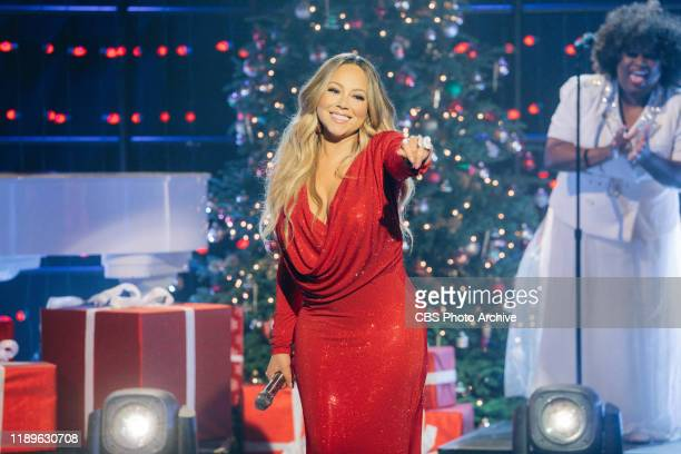 """Mariah Carey performs """"Oh Santa"""" from her 25th Anniversary album reissue of Merry Christmas during The Late Late Show with James Corden, airing..."""