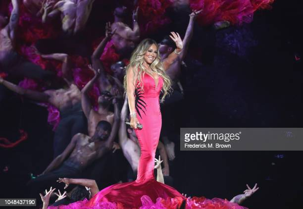 Mariah Carey performs onstage during the 2018 American Music Awards at Microsoft Theater on October 9 2018 in Los Angeles California