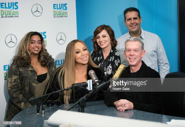 Mariah Carey poses for a photo with Medha Gandhi Danielle Monaro Elvis Duran and Skeery Jones at The Elvis Duran Z100 Morning Show at Z100 Studio on...