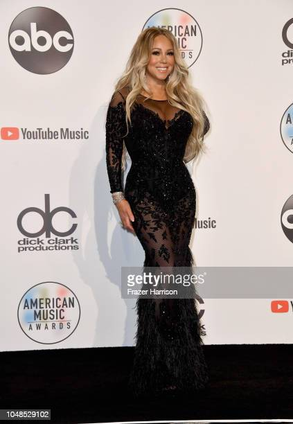 Mariah Carey poses in the press room during the 2018 American Music Awards at Microsoft Theater on October 9 2018 in Los Angeles California