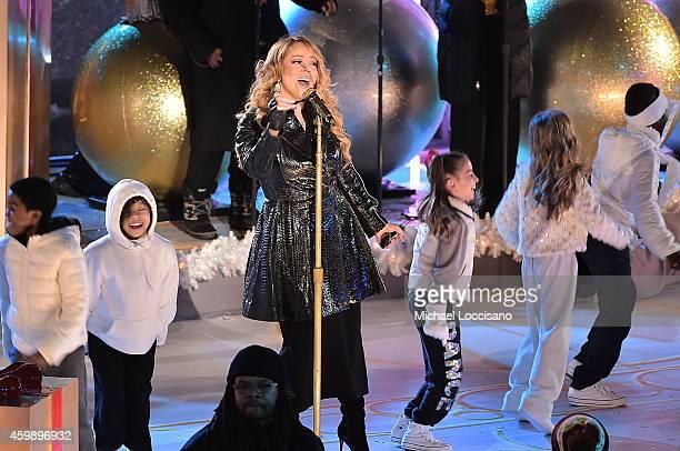 Mariah Carey rehearses for the 82nd annual Rockefeller Christmas Tree Lighting Ceremony at Rockefeller Center on December 3 2014 in New York City