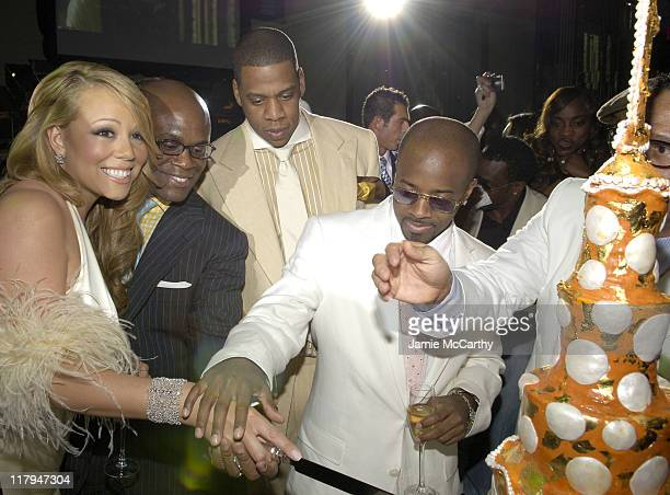 Mariah Carey LA Reid JayZ and Jermaine Dupri during Mariah Carey Celebrates the Release of Her Album 'The Emancipation of Mimi' and its Debut at at...
