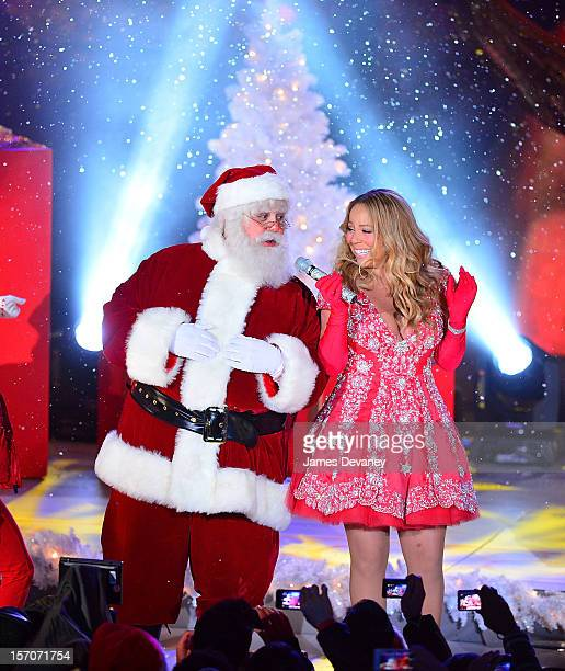 Mariah Carey sings during a pretape performance for NBC's Christmas tree lighting at Rockefeller Center on November 27 2012 in New York City