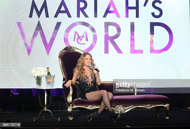 Mariah Carey speaks onstage at the 'Mariah's World' panel discussion during the NBCUniversal portion of the 2016 Television Critics Association...