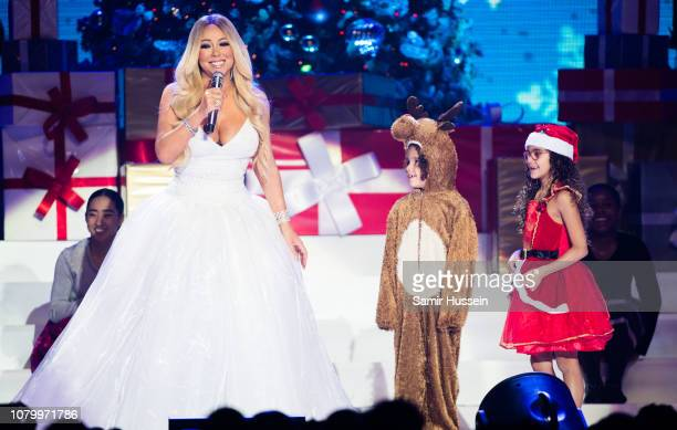 Mariah Carey with children Moroccan Cannon and Monroe Cannon performs live during her All I Want For Christmas Is You tour at Motorpoint Arena on...