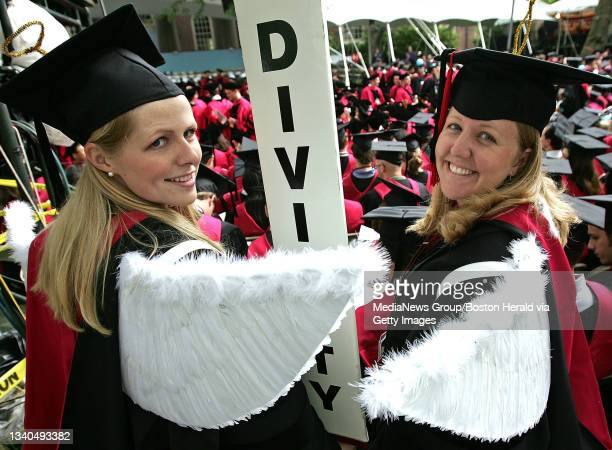 Mariah Furness and Elizabeth Leavitt , both of the Divinity School at Harvard, dawn the wins for the ceremonies at the Harvard University...