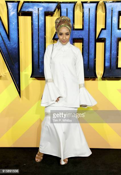 Mariah Idrissi attends the European Premiere of 'Black Panther' at Eventim Apollo on February 8 2018 in London England