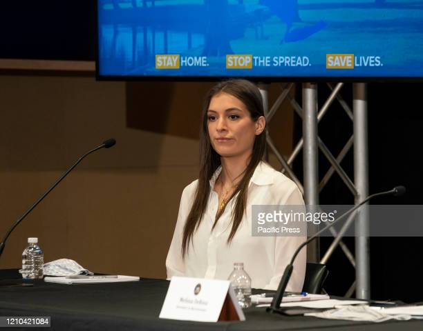 Mariah Kennedy Cuomo attends governor Andrew Cuomo daily briefing to media on COVID19 pandemic at The Feinstein Institute for Medical Research of...