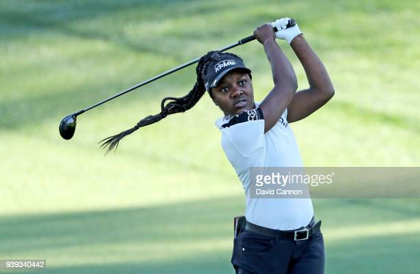 Mariah Stackhouse of the United States plays a shot during teh proam as a preview for the 2018 ANA Inspiration on the Dinah Shore Tournament Course...