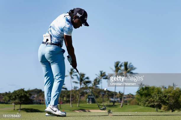 Mariah Stackhouse of the United States plays a tee shot on the 12th hole during the second round of the LPGA LOTTE Championship at Kapolei Golf Club...
