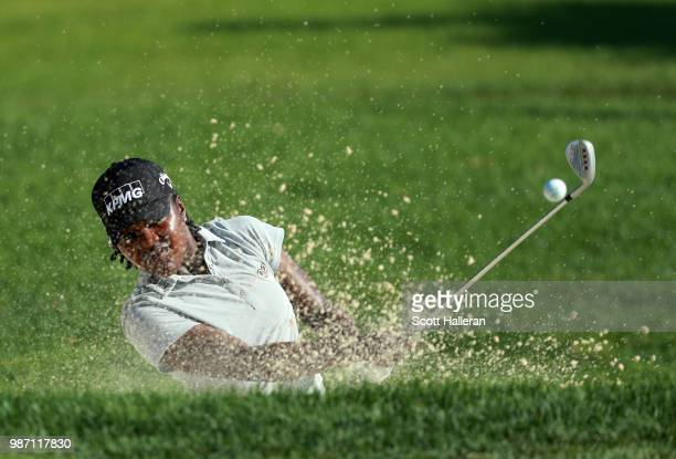 Mariah Stackhouse plays a bunker shot on the fifth hole during the second round of the KPMG Women's PGA Championship at Kemper Lakes Golf Club on...