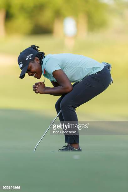 Mariah Stackhouse reacts after just missing her putt on during the LPGA Volunteers of America Texas Classic on May 5 2018 at the Old American Golf...