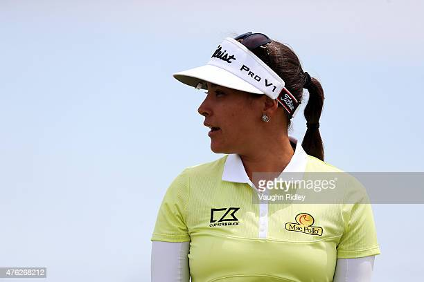 Mariajo Uribe of Colombia acknowledges the crowd after putting on the 4th hole during the final round of the Manulife LPGA Classic at the Whistle...